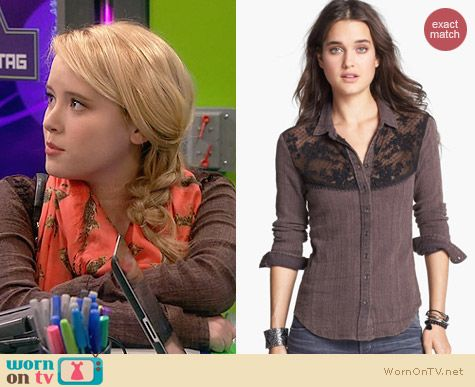 Free People Saddle Up Lace Yoke Shirt worn by Taylor Sprietler on Melissa & Joey