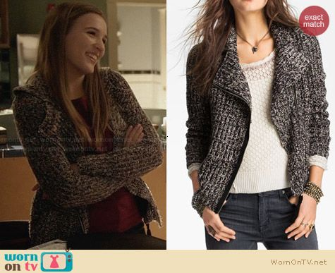 Free People Salt & Pepper Knit Biker Jacket worn by Lennon Stella on Nashville