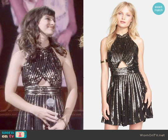 Free People Sequin Stripe Mini Dress worn by Aubrey Peeples on Nashville