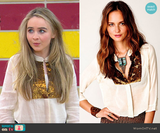 Free People Sequin Button Down worn by Sabrina Carpenter on Girl Meets World