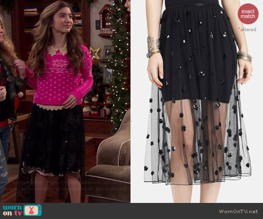 Free People Sequin Polka Dot Mesh Skirt worn by Rowan Blanchard on Girl Meets World