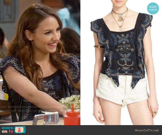 Free People Shake Baby Shake Embroidered Ruffle Top worn by Aimee Carrero on Young & Hungry