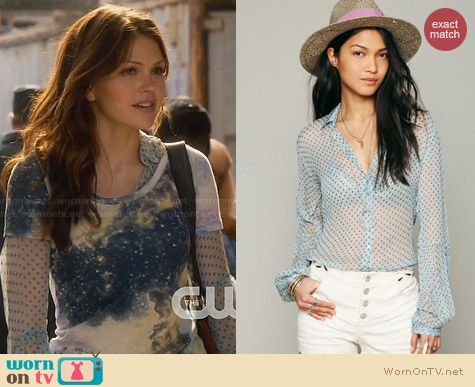 Free People Sheer Dot Button Down Shirt in Blue worn by Aimee Teegarden on Star-Crossed