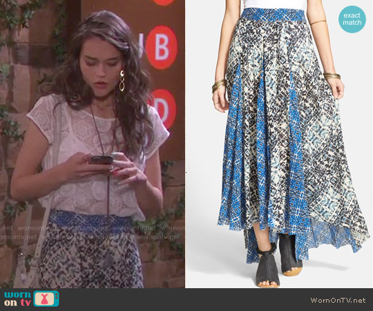Free People Show You Off Maxi Skirt worn by Paige Larson on Days of our Lives