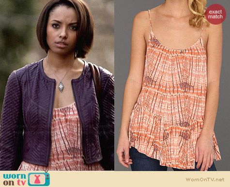 Free People Sierra Tank in Coral Combo worn by Kat Graham on The Vampire Diaries
