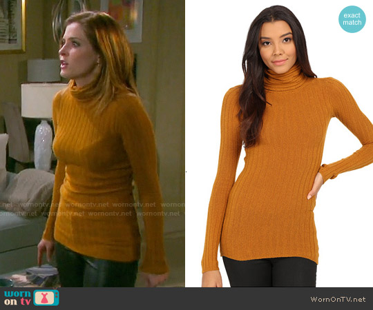 Free People Skinny Mock Neck Sweater in Dark Mustard worn by Jen Lilley on Days of our Lives