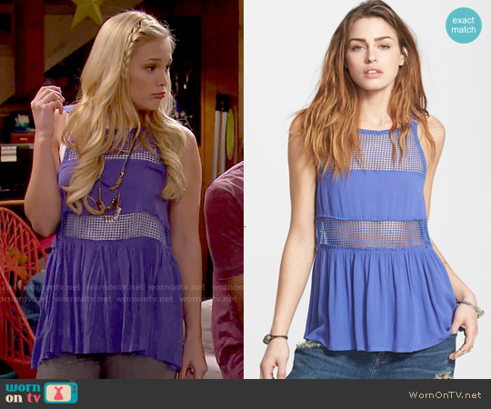 Free People Snap Out Of It Sheer Panel Tank worn by Olivia Holt on IDDI