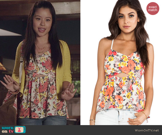 Free People Some Like it Hot Top in Swan Combo worn by Cierra Ramirez on The Fosters