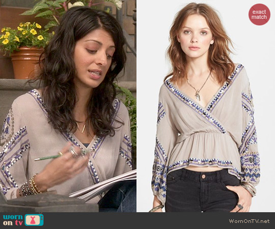 Free People Stitch Up Your Heart Embellished Surplice Top worn by Meera Rohit Kumbhani on Weird Loners