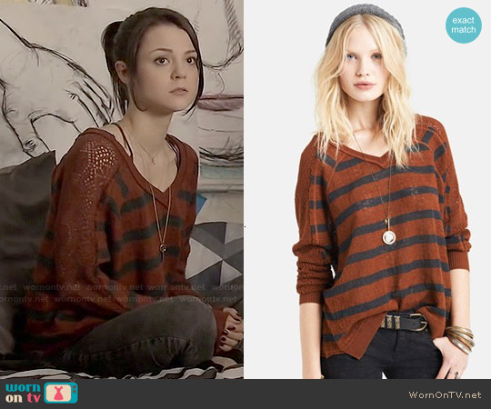 Free People Striped Lace V-neck Sweater in Henna worn by Kathryn Prescott on Finding Carter