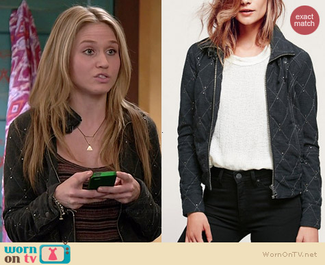 Free People Studded Moto Jacket worn by Rita Volk on Faking It