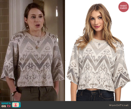 Free People Superstar Pullover in Ivory worn by Troian Bellisario on PLL