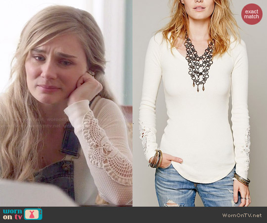 Free People 'Synergy' Cuff Thermal in Ivory worn by Clare Bowen on Nashville