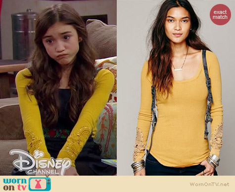 Free People Synergy Cuff Thermal in Yellow worn by Rowan Blanchard on Girl Meets World