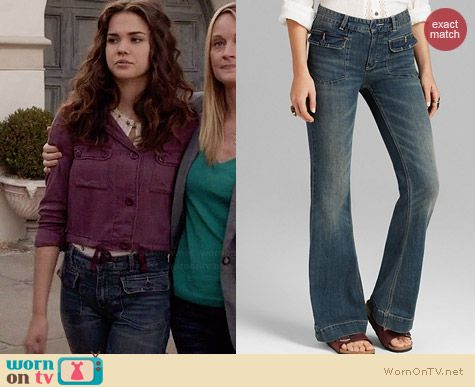 Free People Tailored Flare Jeans in Estrella Wash worn by Maia Mitchell on The Fosters