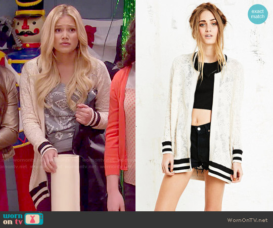 Free People Team Lace Varsity Jacket worn by Olivia Holt on IDDI