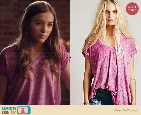 Free People The Keep Me Tee in Petunia worn by Lennon Stella on Nashville