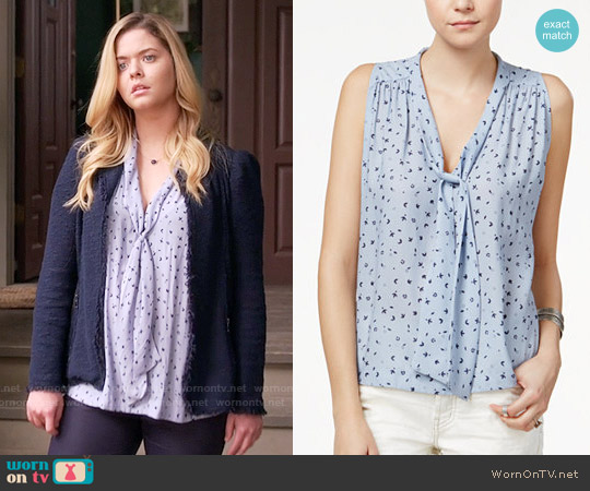Free People Sleeveless Tie Neck Blouse worn by Sasha Pieterse on PLL