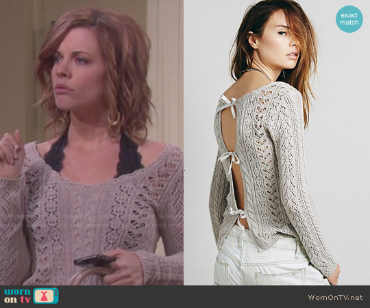 Free People Tight Lace Tie Up Back Pullover worn by Molly Burnett on Days of our Lives