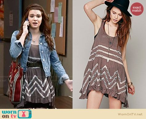 Free People Voile and Lace Trapeze Slip in Sequoia worn by Katie Stevens on Faking It
