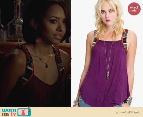 Free People Travelers Embellished Tank in purple worn by Kat Graham on The Vampire Diaries