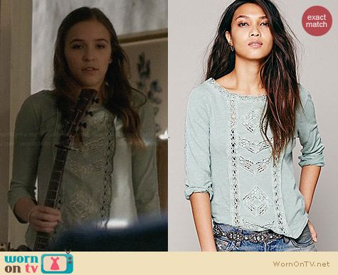 Free People Truly Madly Lace Top in Seafoam worn by Lennon Stella on Nashville