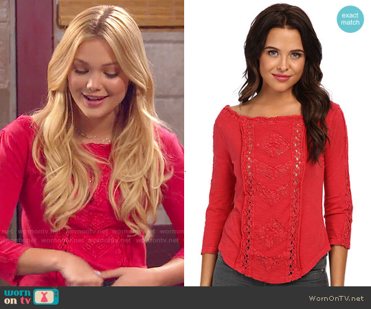 Free People Truly Madly Top in Red worn by Olivia Holt on IDDI