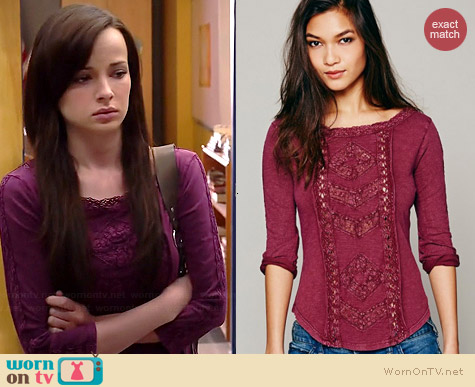 Free People Truly Madly Top in Wine worn by Ashley Rickards on Awkward