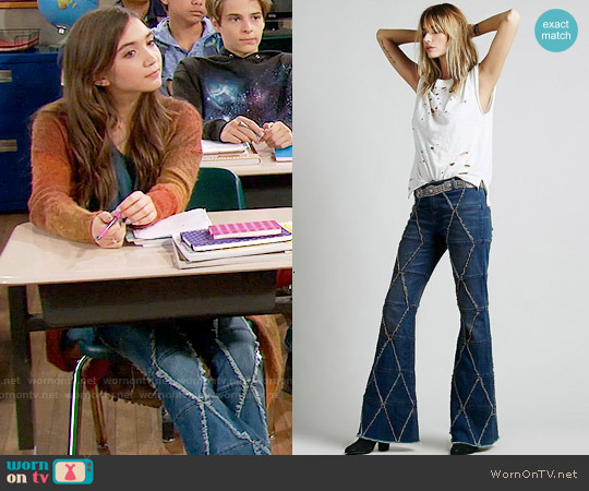 Free People Tyler Pieced Flare Jeans worn by Riley Matthews on Girl Meets World