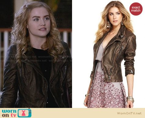 Free People Vegan Leather Jacket in Washed Gold worn by Maddie Hasson on Twisted