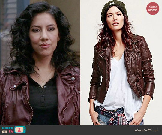 Free People Vegan Leather Hooded Motorcycle Jacket in Red worn by Stephanie Beatriz on Brooklyn 99