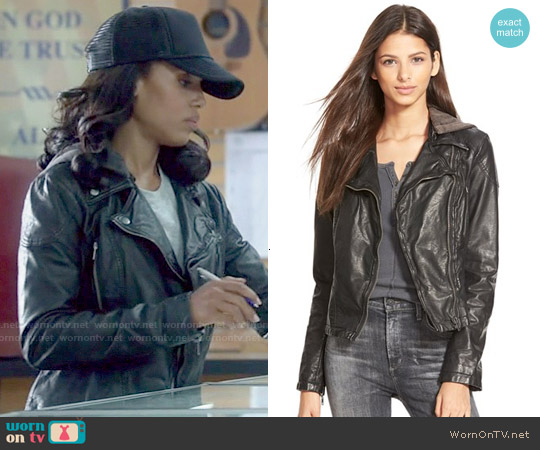 Free People Vegan Leather Hooded Moto Jacket worn by Kerry Washington on Scandal