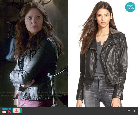 Free People Vegan Leather Hooded Moto Jacket worn by Katie Lowes on Scandal