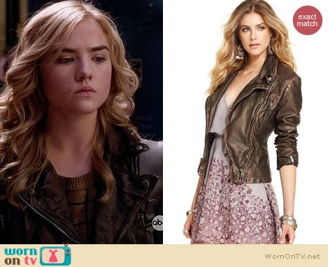 Free People Metallic Vegan Leather Jacket worn by Maddie Hasson on Twisted
