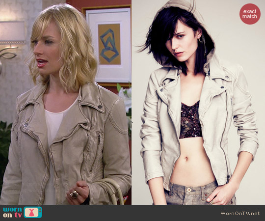 Free People Vegan Leather Hooded Motorcycle Jacket worn by Beth Behrs on 2 Broke Girls
