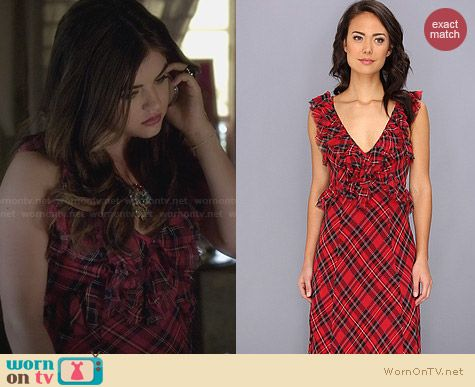 Free People Venitia Plaid Dress worn by Lucy Hale on PLL