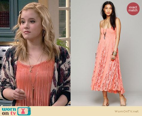 Free People Victorian Lace Dress worn by Taylor Sprietler on Melissa & Joey