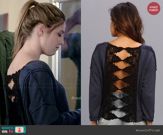 Free People Victorian Lace Pullover worn by Zoe Levin on Red Band Society