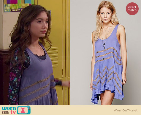 Free People Voile and Lace Trapeze Slip in Periwinkle / Taupe worn by Rowan Blanchard on Girl Meets World