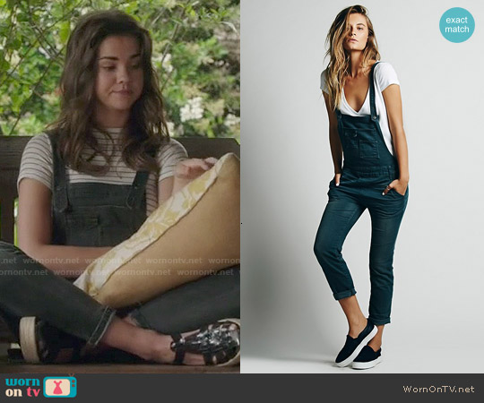 Free People Washed Denim Overall in Wake Blue worn by Maia Mitchell on The Fosters
