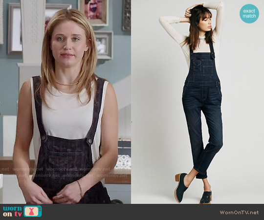 Free People Washed Denim Overalls worn by Rita Volk on Faking It