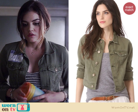 Free People Washed Out Denim Jacket worn by Lucy Hale on PLL