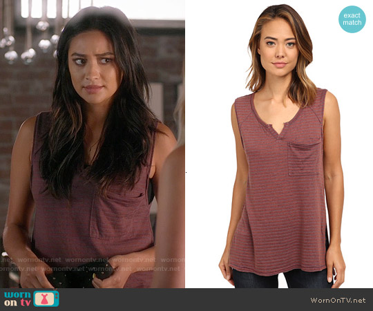 Free People Weekend Warrior Stripe Tank in Brick worn by Shay Mitchell on PLL