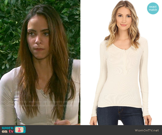 Free People Up All Night Henley in Wheat worn by Vivian Jovanni on Days of our Lives