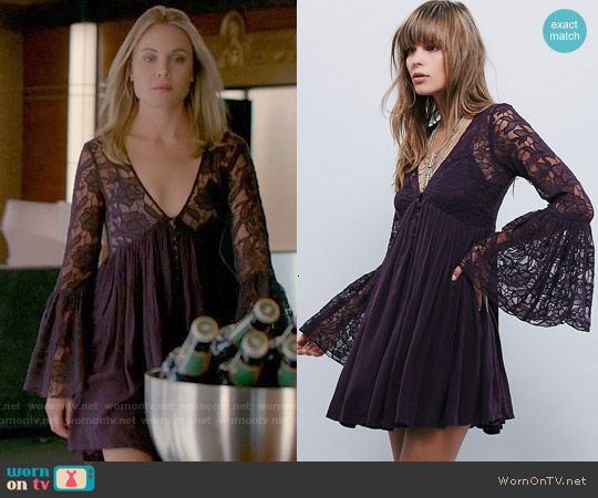 Free People With Love Dress in Huckleberry worn by Leah Pipes on The Originals