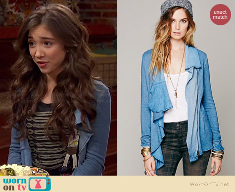 Wornontv Riley S Blue Draped Front Jacket And Military Tee On Girl Meets World Rowan