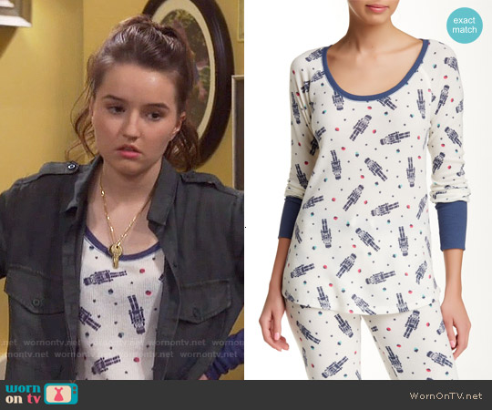 Free Press Thermal Tee in Ivory Pristine Nutcracker worn by Kaitlyn Dever on Last Man Standing