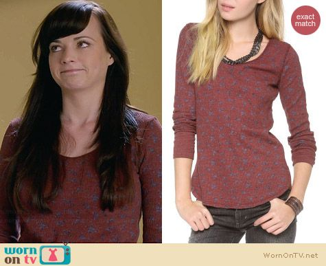 Free People Washed Floral Thermal Top in Washed Red worn by Ashley Rickards on Awkward