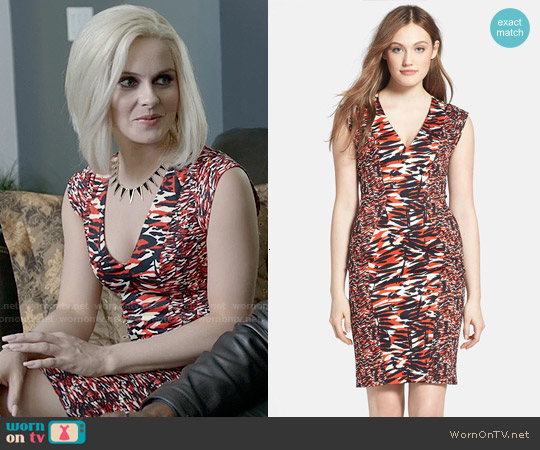 French Connection Print Stretch Cotton V-Neck Sheath Dress worn by Rose McIver on iZombie