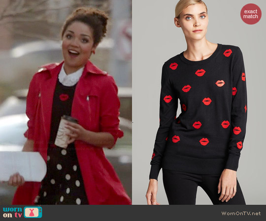 French Connection Allover Lips Sweater worn by Aisha Dee on Chasing Life